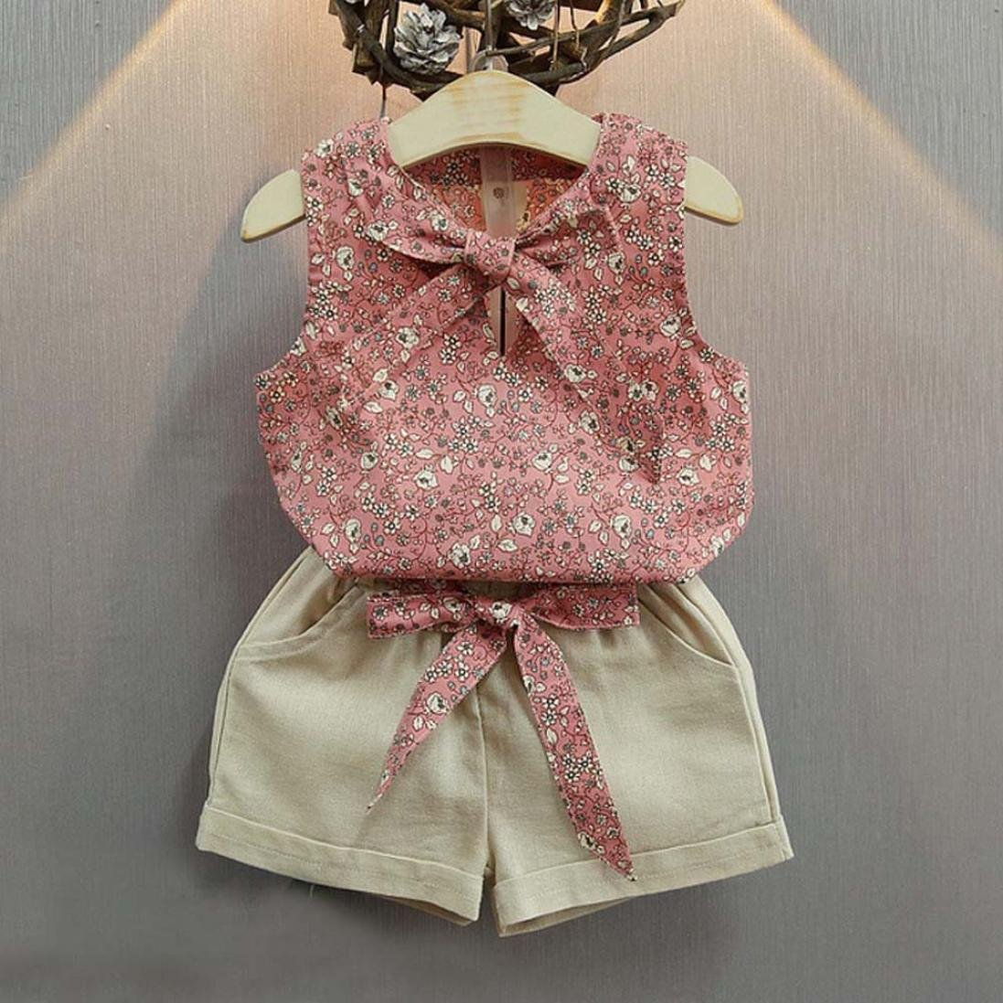 Kolylong for 2-7Years Kids Baby Girls Lovely Floral Bowknot Outfits Vest T-Shirt+Shorts Clothes Set
