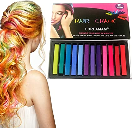 Cabello Tiza, Coloración temporal Cabello, Tinte para el cabello para niños, 12 Colores Temporal Tiza de Pelo dont have Tóxico Lavables Color de Tiza ...