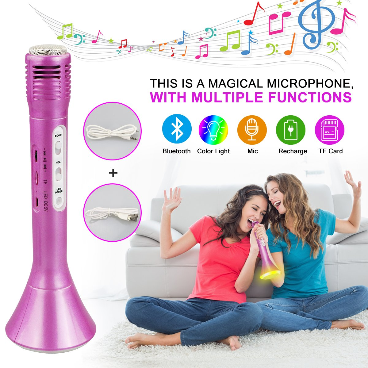 Bluetooth Karaoke Microphone, Wireless Portable Karaoke Player Machine, Color Changing LED Lights Speaker for Home Party Music Singing Playing - Support IPhone/Android IOS Smartphone/Tablet Compatible
