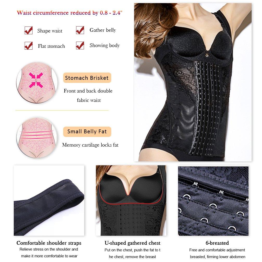 KAIYANG Waist Trainer Vest Waist Trainer Corset Shapewear Adjustable Elastic Waist Trainer for Women Weight Loss M Black