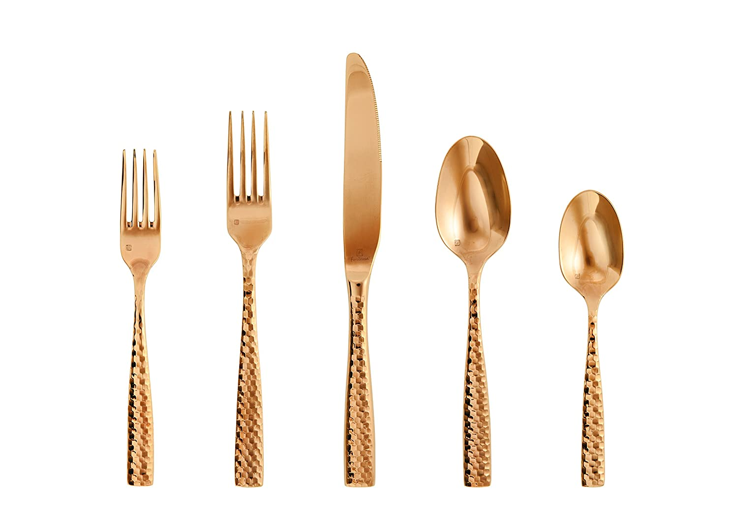 Fortessa Lucca Faceted 18/10 Stainless Steel Flatware, 20 Piece Place Setting, Service for 4, Brushed Gold 5PPS-102FC9B-20