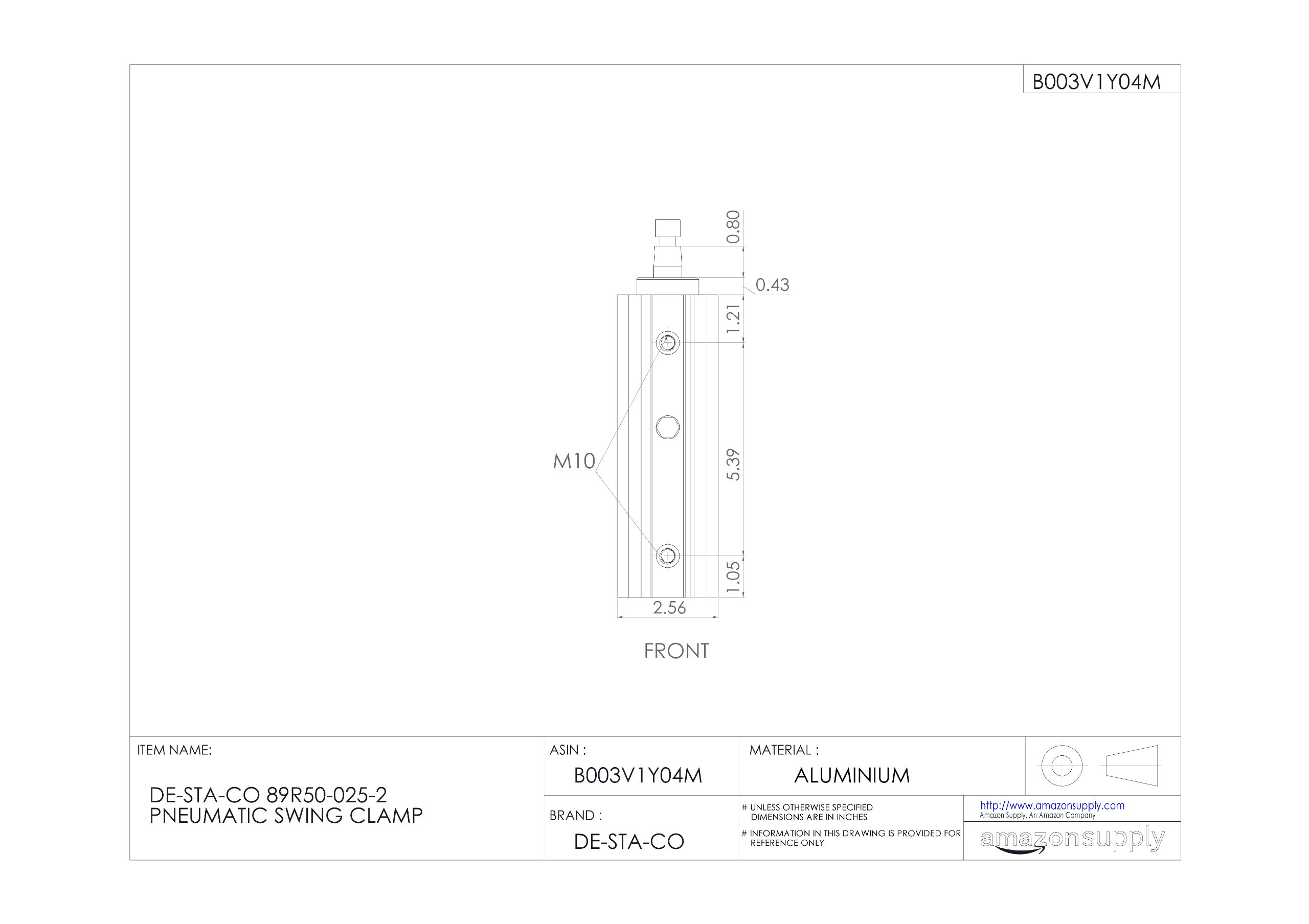 DE-STA-CO 89R50-025-2 Pneumatic Swing Clamp by De-Sta-Co (Image #2)