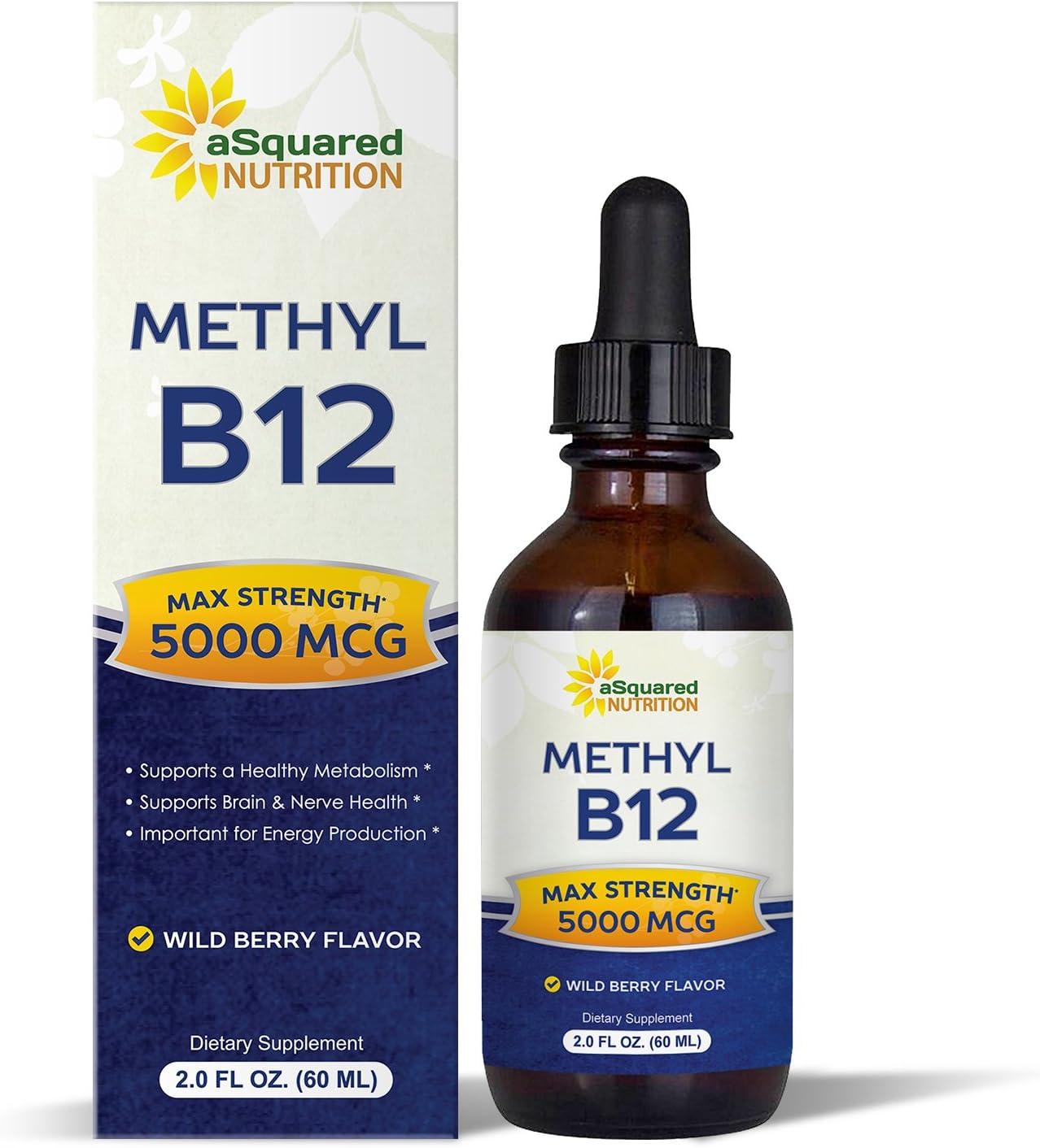 Vitamin B12 Sublingual Liquid Drops – 5000 MCG Supplement with Methylcobalamin Methyl B-12 – Max Absorption B 12 to Increase Energy Metabolism – Vegan Friendly – 2 fl oz