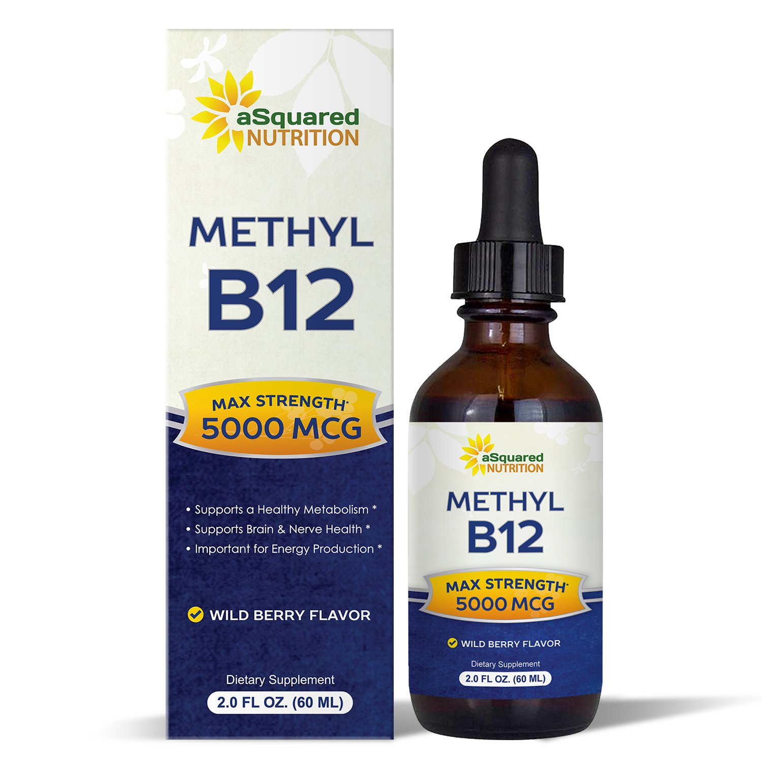 Vitamin B12 Sublingual Liquid Drops - 5000 MCG Supplement with Methylcobalamin (Methyl B-12) - Max Absorption B 12 to Increase Energy & Metabolism - Vegan Friendly - 2 fl oz