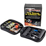Pit Posse PP3167 Motorcycle Tire Repair Kit with Co2 Inflator and Cartridges for Tube and Tubeless Tires, Emergency…