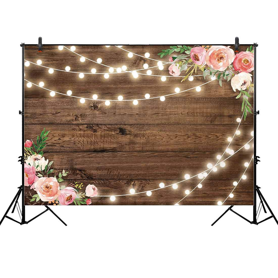 Allenjoy 10x8ft Fabric Rustic Floral Wooden Backdrop for Baby Shower Bridal Wedding Studio Photography Pictures Brown Wood Floor Flower Wall Background Newborn Birthday Party Banner Photo Shoot Booth