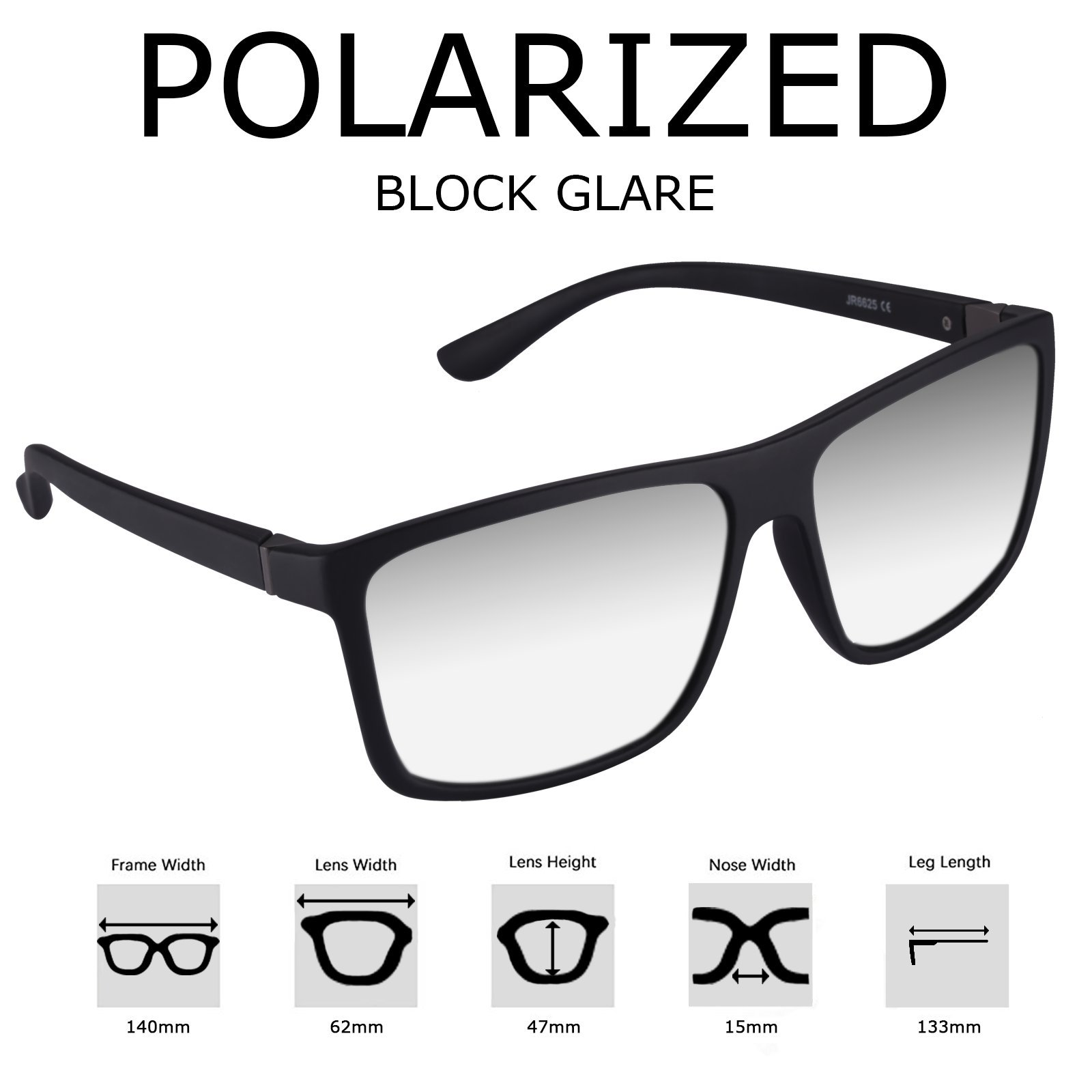 Polarized Sunglasses for Men Driving, Unisex Sun Glasses Square Vintage 100% UV Protection Glasses for Men/Women (Sliver)