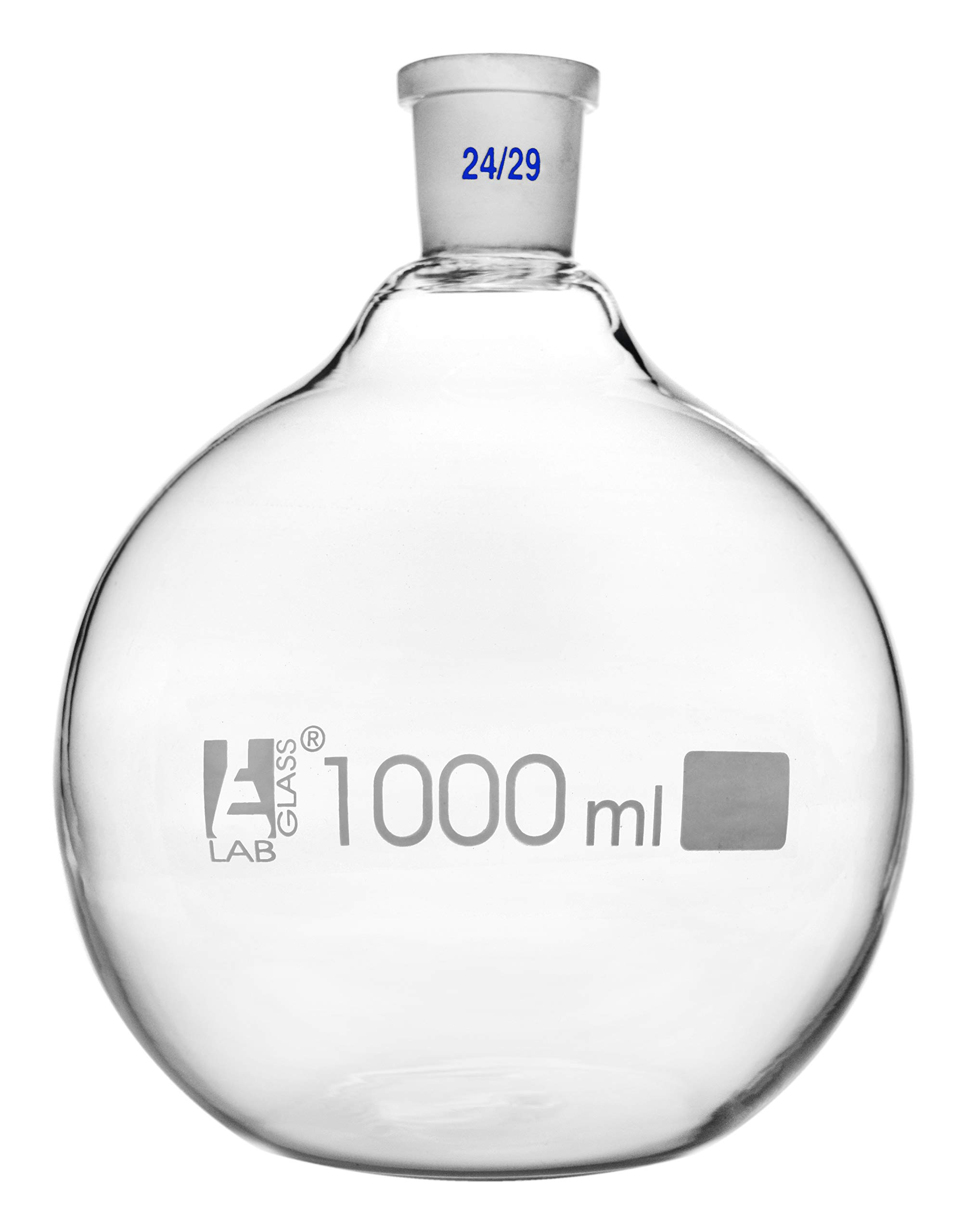 Florence Boiling Flask, 1000ml - 24/29 Joint, Interchangeable - Borosilicate Glass - Flat Bottom, Short Neck - Eisco Labs