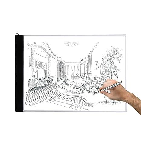 txxci Bombilla mesa A4 LED Bombilla Placa Bombilla Pult Pad dibujar esbozar. pintar con modulador