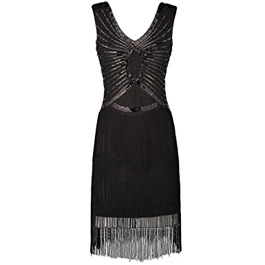 COOCOl White Bead Dress Vestido Robe Double V-Neck Tassel Dress Black S
