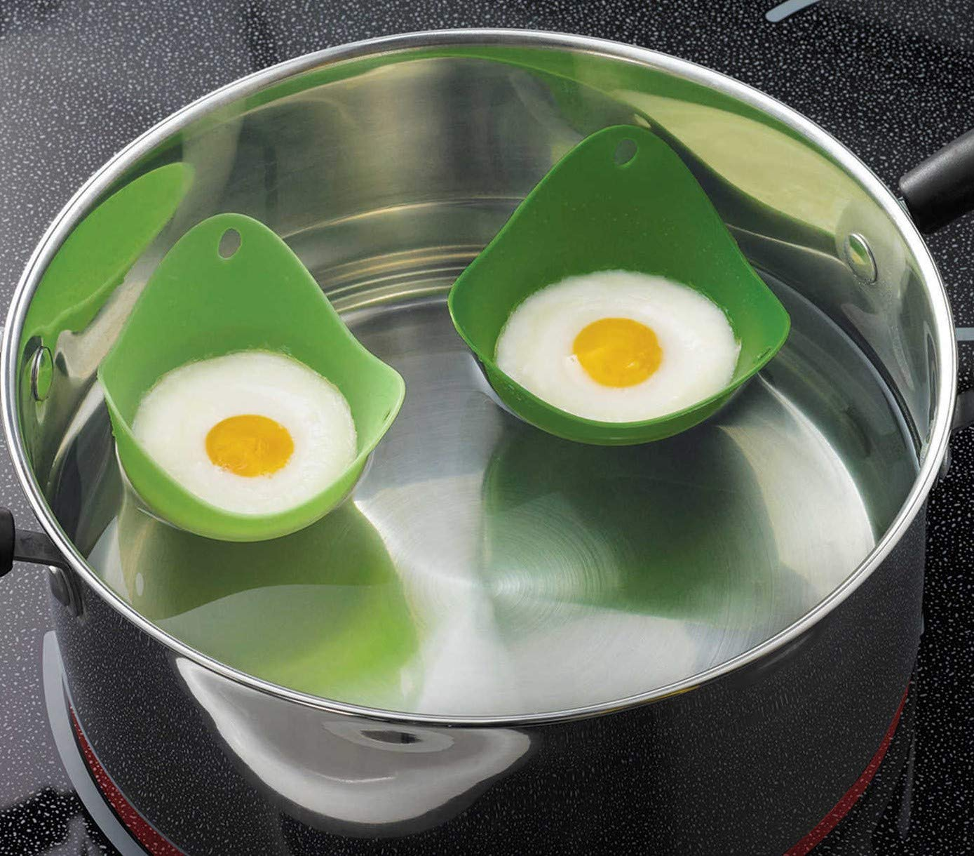 Hard Boiled Egg Cooker Set WITHOUT SHELL —6 Silicon Egg cooker COMES WITH TWO ADDITIONAL SILICONE EGG POACHERS, BPA AND FDA-APPROVED