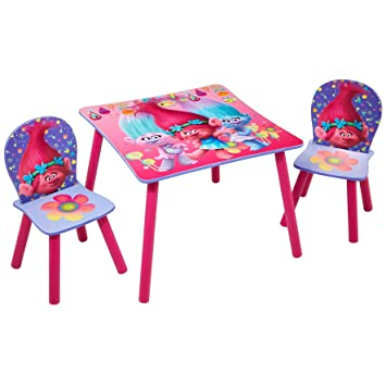 Trolls Kids Childrens Table and  Chair Set by HelloHome Amazon