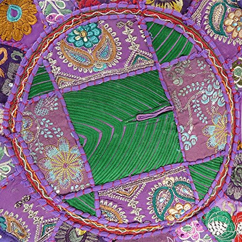 Eyes of India 17 X 12 Purple Patchwork Round Pouffe Ottoman Cover Floor Seating Bohemian Boho Indian