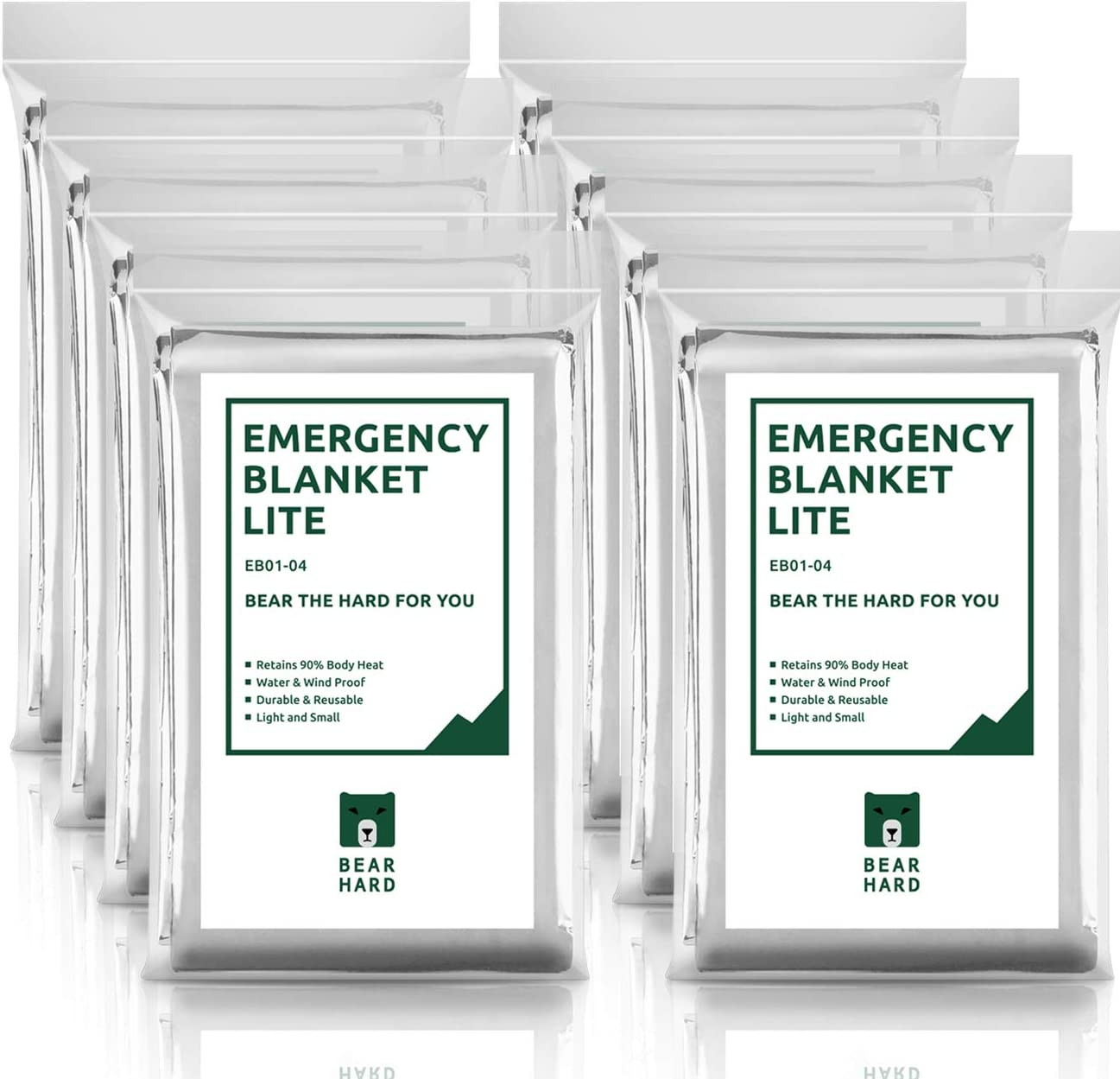 Bearhard Emergency Blanket Space Blankets 8-Pack for Camping Hiking or Outdoor Rescue Foil Thermal Survival Blankets