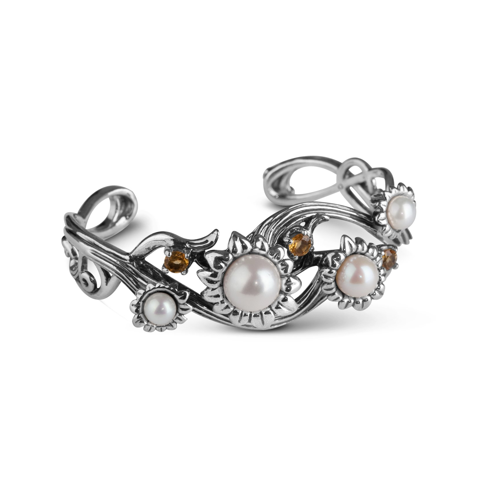 Purity and Promise Cultured Pearl and Citrine Cuff Bracelet