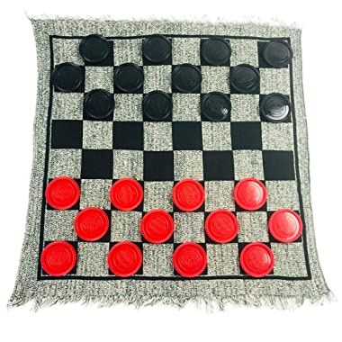 YH Poker 3 in 1 Giant Checkers Set and Tic Tac Toe Game with Reversible Rug - Indoor and Outdoor Board Game for Family