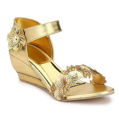 7fbf3e1dae MGZ Bridal Golden Sandal for Girls/Women - 38: Buy Online at Low ...