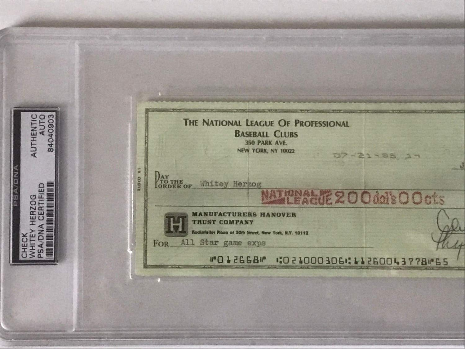 Whitey Herzog Autographed Signed All Star Game Payroll Check Chub Feeney PSA/DNA Authentic Hof