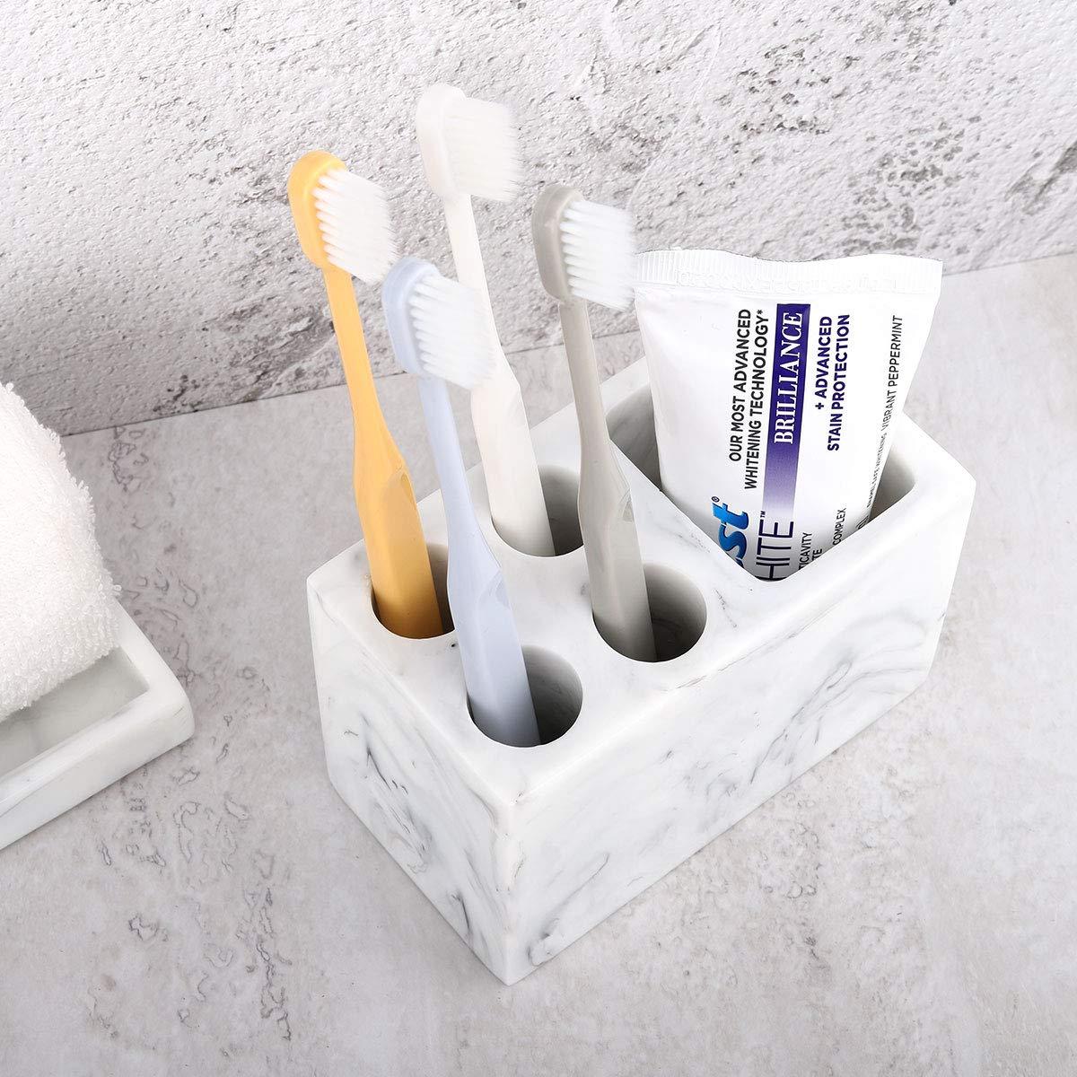Toothpaste Ink White Razor Luxspire Resin Toothbrush Holder 3 Slots Hygienic Handmade Toothbrush Storage Stand Dispenser Bathroom Organizer Set for Electric Toothbrush