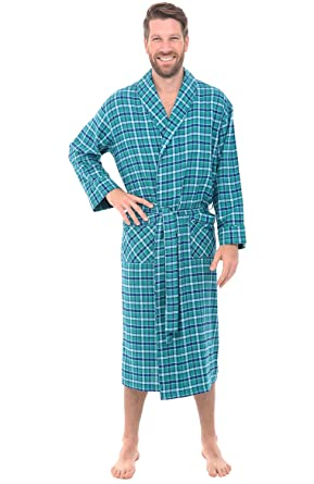 alexander del rossa mens flannel robe soft cotton bathrobe small aqua green and blue - Mens Bathrobes