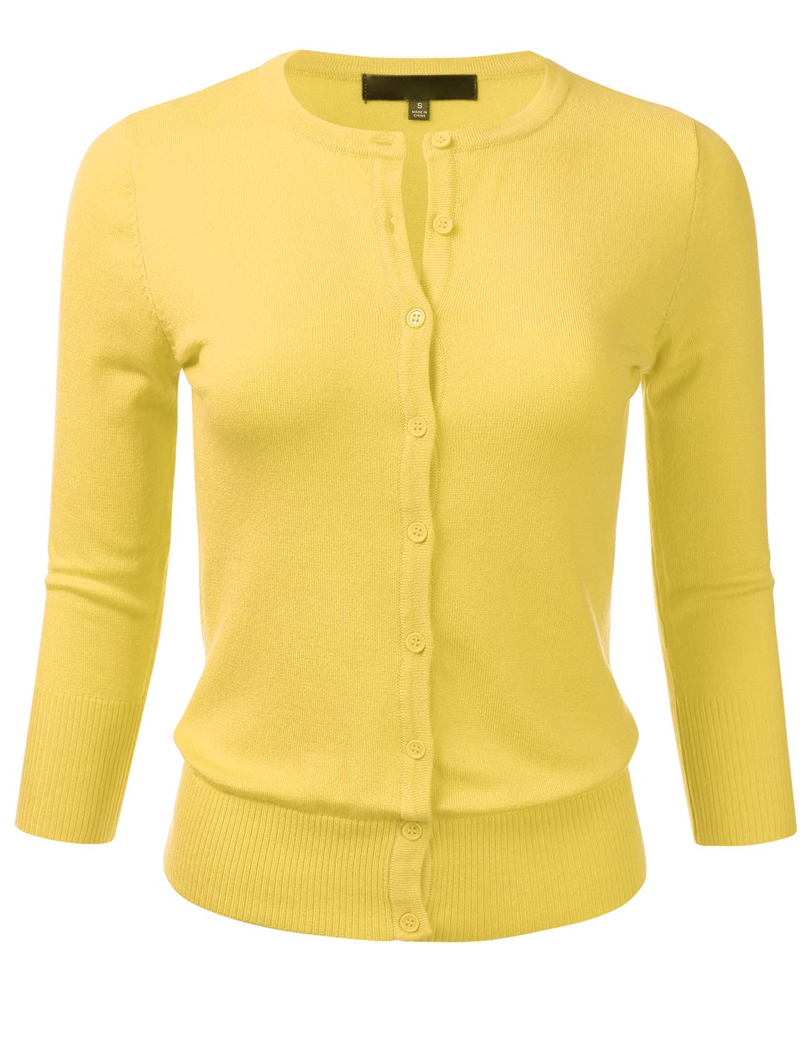 FLORIA Womens Button Down 3/4 Sleeve Crew Neck Knit Cardigan Sweater BABYYELLOW L