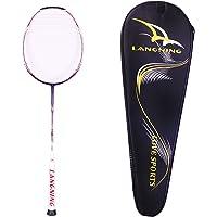 Raquette de badminton Langning, légère, en fibre de carbone, pour tournoi professionnel, sac de transport inclus