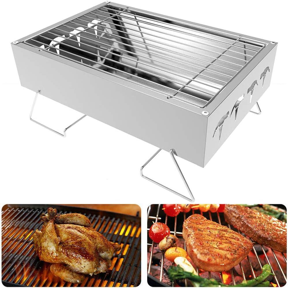 PoeHXtyy Edelstahl Tabletop Grill tragbare Faltbare Mini leichte Herd BBQ Grill zum Kochen im Freien Camping Wandern