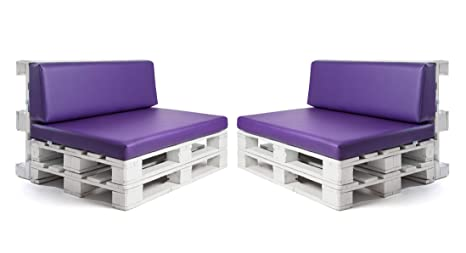 Conjunto colchonetas para sofas de palet y respaldos (2 x Unidades) Cojin relleno con espuma. Color Lila | Cojines para chill out, interior y ...