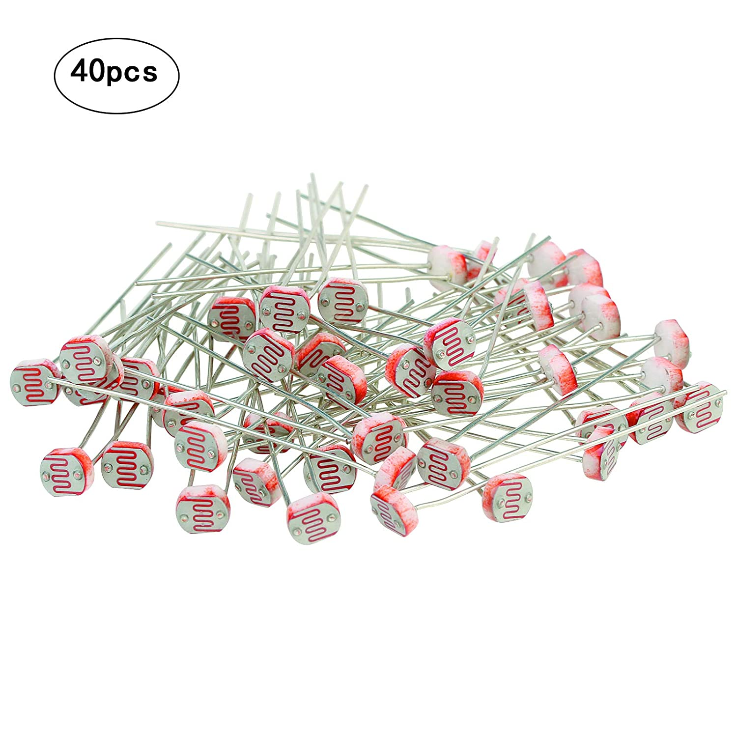 LANMOK 40 Pieces 150V Photo Light Sensitive Resistors 5mm Photoresistor Optoresistor 5539 Light Dependent Resistor
