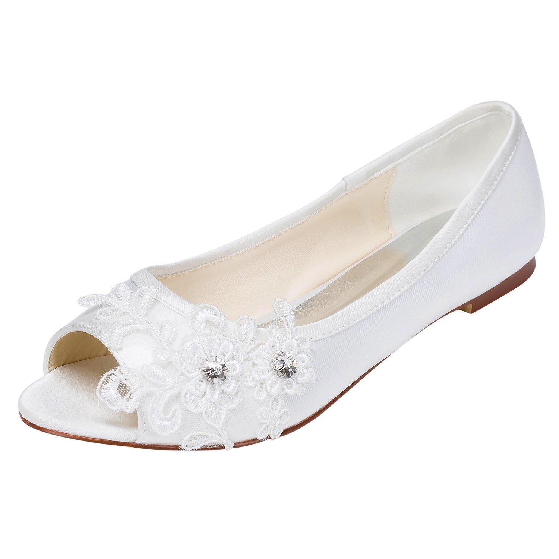 Emily Cristal Bridal 17401 Chaussures de Emily Mariée Talon Plat Satiné Peep Toe avec Cristal Talon Cristal white 1fb926f - tbfe.space