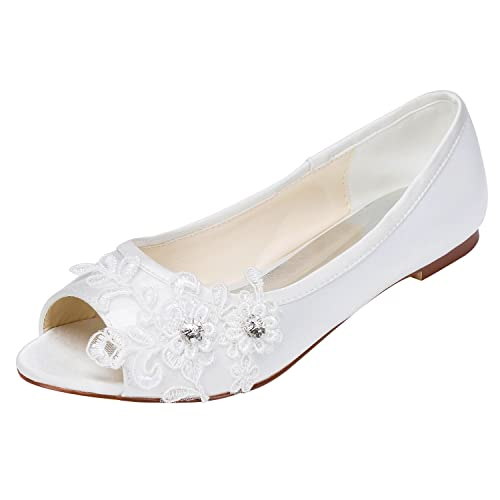 6e9772c8d47 Emily Bridal Wedding Shoes Women's Satin Flat Heel Peep Toe with Crystal  Heel Crystal