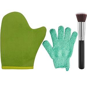 3 Pack Self Tanning Mitt Applicator Kit Set, with Tanning Glove, Exfoliating Mitt, Tanning Brush, for Self Sunless Tan, Fake Bake Tanning Applicator (Green)