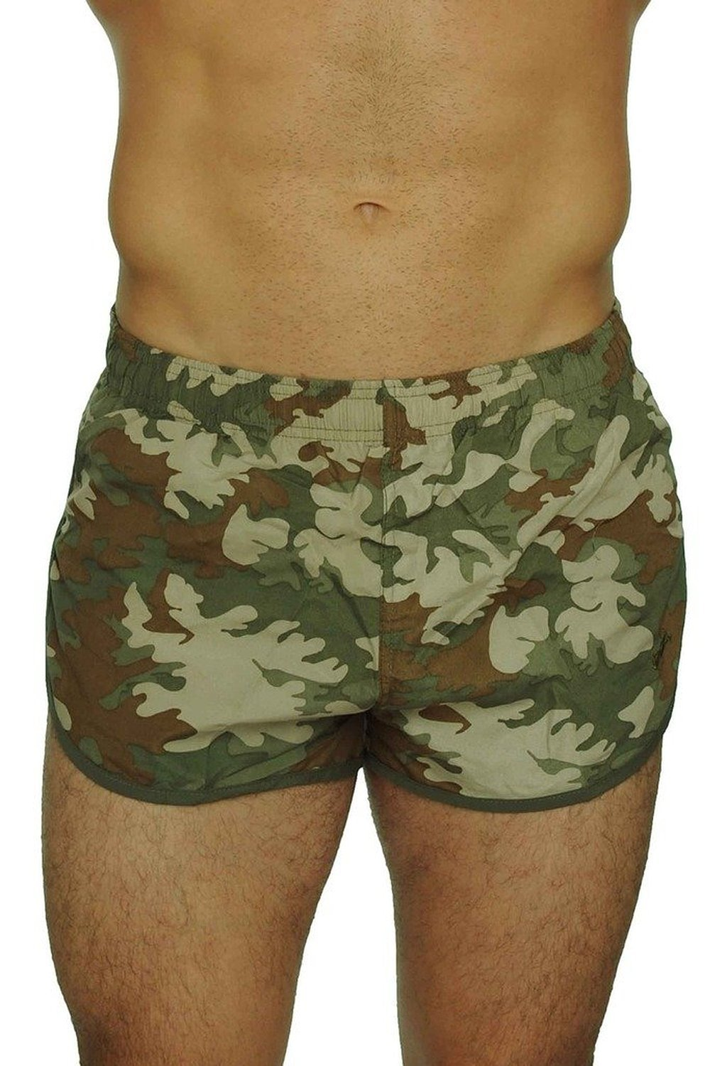 UZZI Men's Basic Running Shorts Swimwear Trunks 1830 Camo Olive XL by UZZI