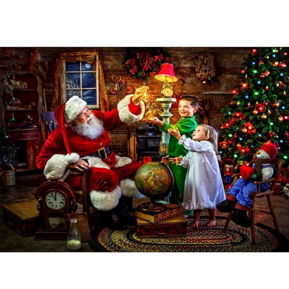 5D Diamond Painting Kit, Santa Claus & Children - DIY Rhinestone Embroidery Cross Stitch Arts Craft For Christmas Decor 11.8*15.7 inch (30*40 cm) UPmall Direct