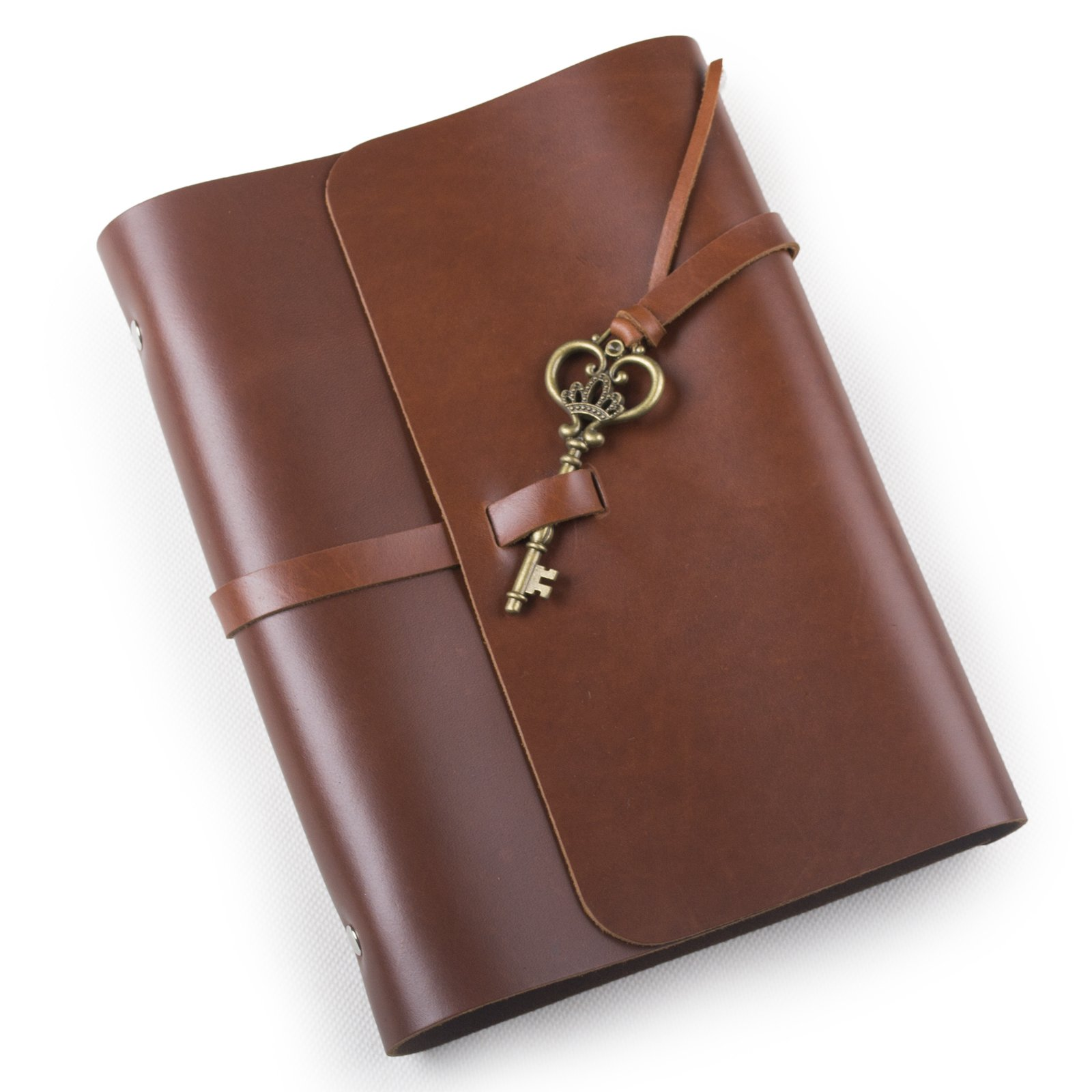 Ancicraft Soft Genuine Leather Journal Diary Notebook with Retro Key Charm 6 Ring Binder A5 Lined Craft Paper (Red Brown & A5 Lined craft paper)