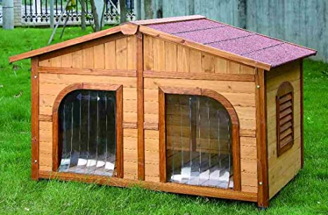 Casette Da Giardino Per Cani.Cuccia In Legno Doppia Amazon It Giardino E Giardinaggio