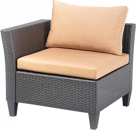 HLC Lujo Polirratán Sofá rinconera loungesofa Jardín sofá marrón Indoor & Outdoor A: Amazon.es: Hogar