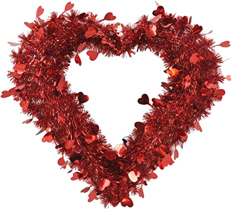 Amazon Com Hl Valentines Decor Large Red Tinsel Heart Wreath 20 Home Kitchen