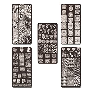 WOKOTO Nail Printing Plates DIY Tool 5 Pcs Text Animal Texture Image Templates Stamping Kit