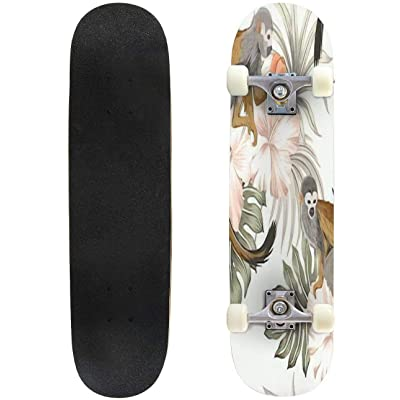 Classic Concave Skateboard Tropical Vintage Monkey Animal Hibiscus Flower Peach Fruit Palm Leaves Longboard Maple Deck Extreme Sports and Outdoors Double Kick Trick for Beginners and Professionals : Sports & Outdoors