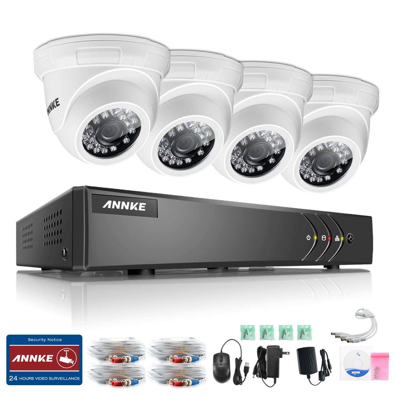 ANNKE H.264+ 4 Channel 1080P Lite HD DVR Recorder Security System with 2x1500TVL Dome Security Camera, IP66 Weatherproof,Smart Playback, Email Alarm with Image, P2P, Plug and Play(No Hard Drive)