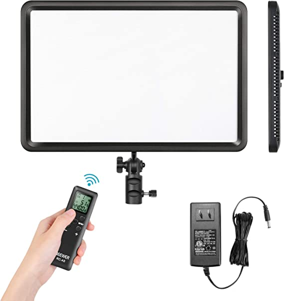 Neewer LEDP260C Ultra-Thin Lightweight LED Video Light CRI95+ TLCI94+ 30W 3300K-5600K Continuous Lighting Panel with Remote Control Compatible with Canon Nikon Sony DSLR Cameras Camcorders