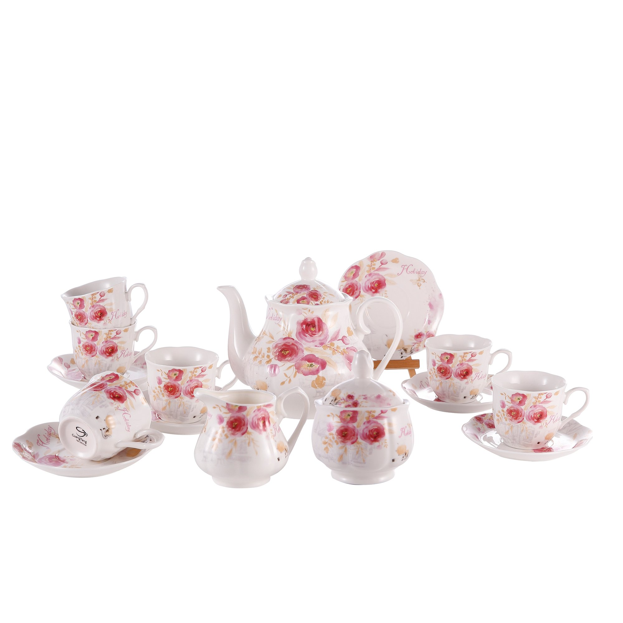 GuangYang Tea Set Service Sugar Tank Creamer Teapot and 6 Cups and Saucers Sets Rose Painting Pattern Porcelain Bone China Coffee set 15 PCS
