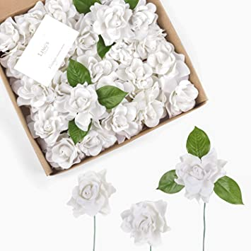 How To Make A Wedding Bouquet With Artificial Flowers.Amazon Com Ling S Moment Artificial Flowers 25pcs White Gardenia