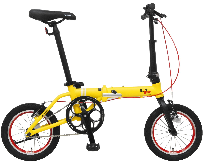 DEEPER(ディーパー) 14インチ 折り畳み自転車 DFB-140 アルミフレーム JIS耐振動試験合格フレーム採用 持ち運びに便利な輪行キャリングバッグ付き 超軽量モデル (イエロー) B077M5ZXZ5