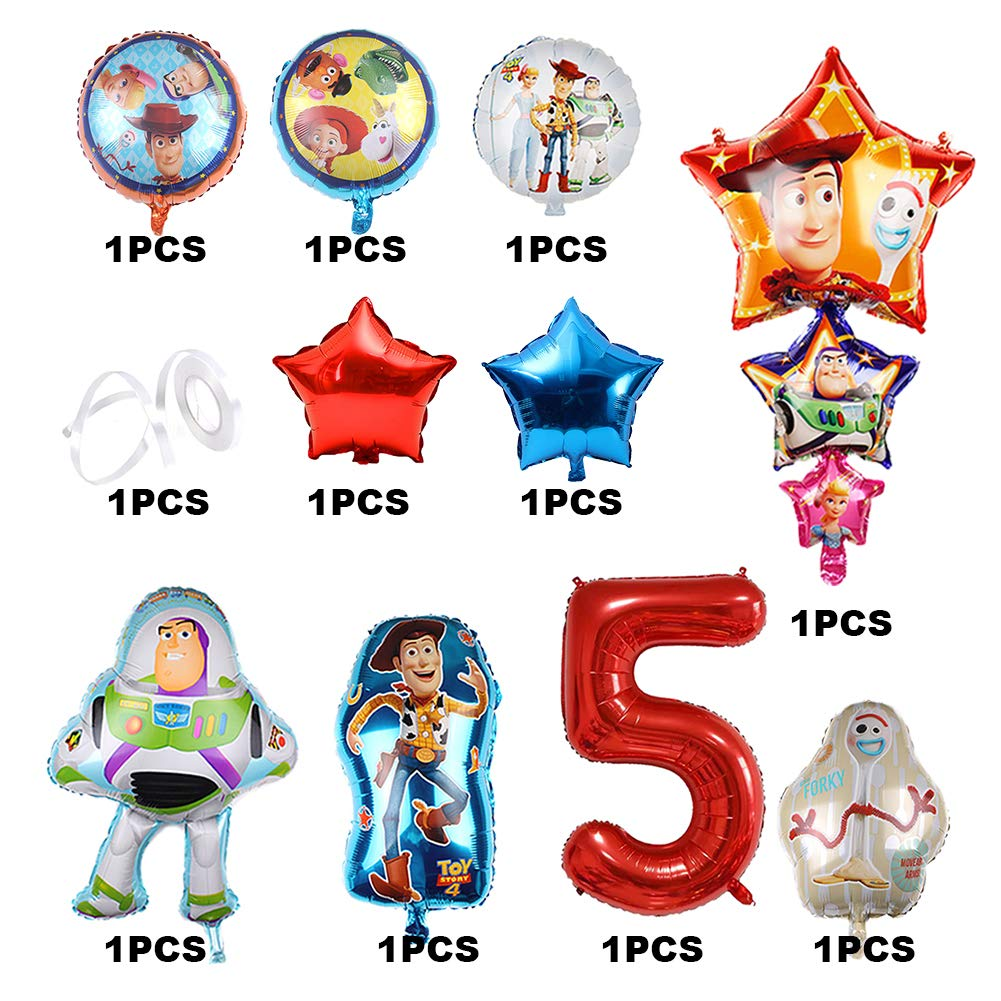 11Pcs Toy Story Balloons Party Supplies Woody and Friends 5th Birthday Balloon Bouquet Decorations