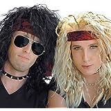 80s Heavy Metal Halloween Wigs - 2 Pack - Blonde and Black Wig - Rocker Costumes, Large