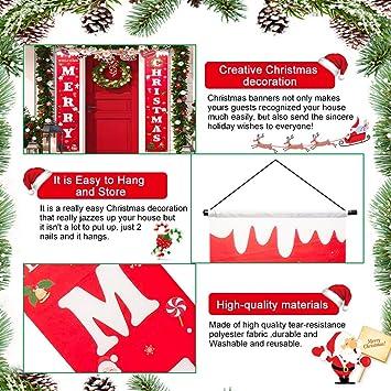 Buzifu Frohe Weihnachten Banner Willkommen Weihnachtsdeko Amerikanisch Weihnachten Veranda Schild Hängend Weihnachtsgirlande Mit Santa Claus Ammer Banner Für Indoor Outdoor Partei Dekorationen Küche Haushalt