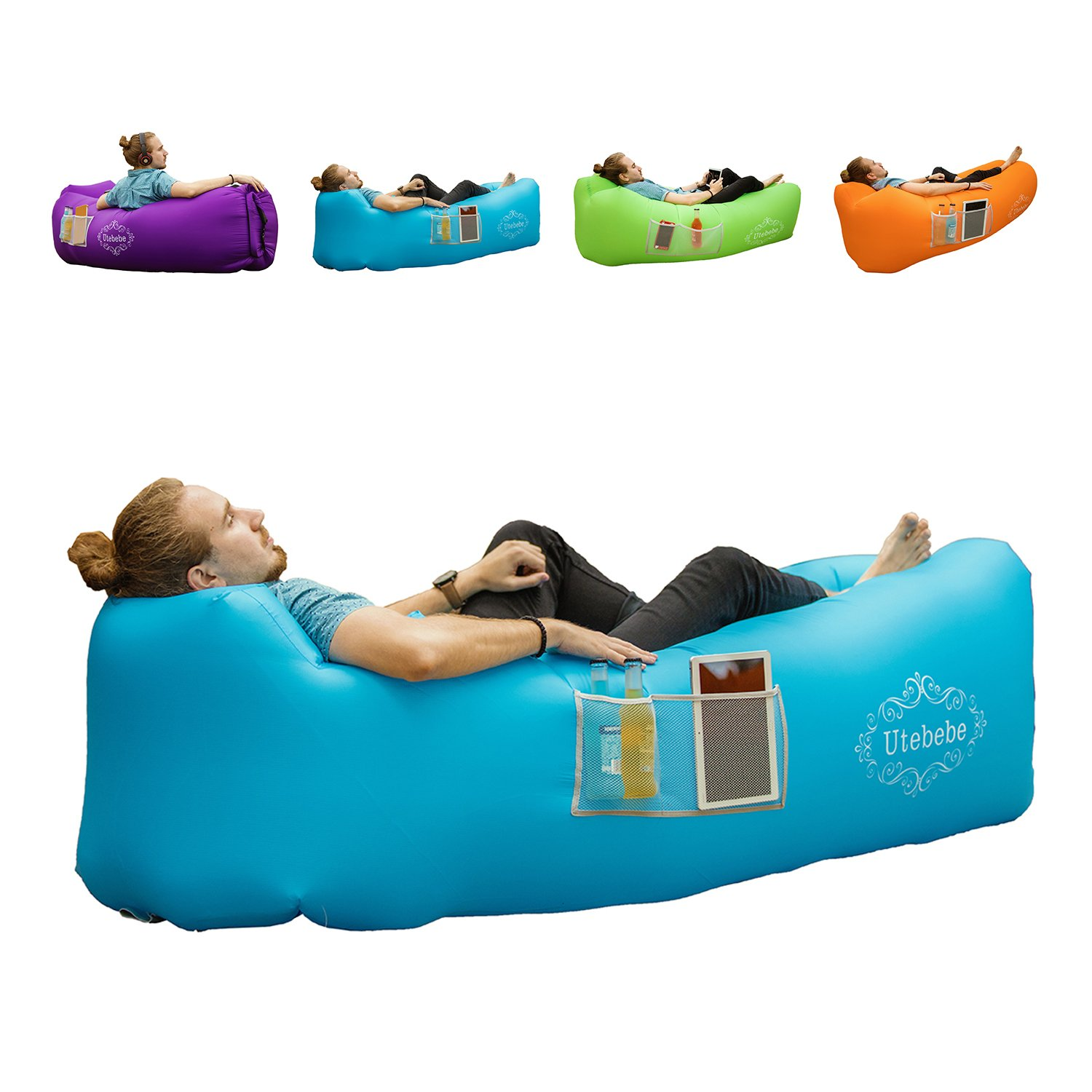 Utebebe Inflatable Lounger Air Sofa Couch Chair Outdoor Lazy Bag