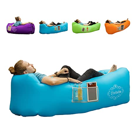 Utebebe Inflatable Lounger Air Sofa Blow Up Couch Chair Outdoor Lazy Sofa Air Lounger Inflatable Lazy Bag Air Hammock Portable Couch For Beach